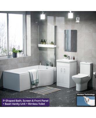 Pleih RH P-Bath, 500mm Vanity Basin Unit & Cyan Close Coupled Toilet White