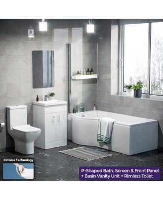 Pleih LH P-Bath, 500mm Vanity Basin Unit & Cyan Close Coupled Toilet White