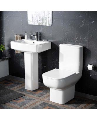 Bleu Rimless Toilet Pan and  560 mm Full Pedestal Basin