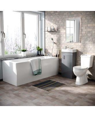 Elsa 1700mm Bath, 400mm Vanity Basin Unit, Close Coupled Toilet, Taps & Waste Grey
