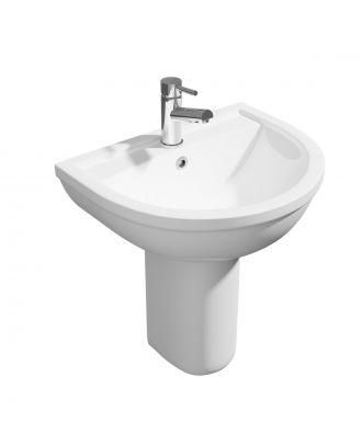 Kartell 500mm Basin & Semi Pedestal Basin White