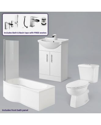 1700mm LH P-Bath, Screen, Basin Vanity Unit, Close Coupled Toilet, Mono and Shower Mixer Taps & Wastes White
