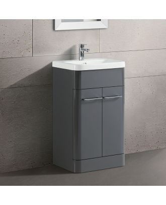 Lex Modern High Gloss Basin Vanity Cabinet and Tap with Waste Set