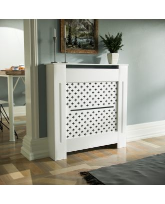 Cintra 780mm Small MDF Wood Radiator Cover Flower Pattern Grill Matte White