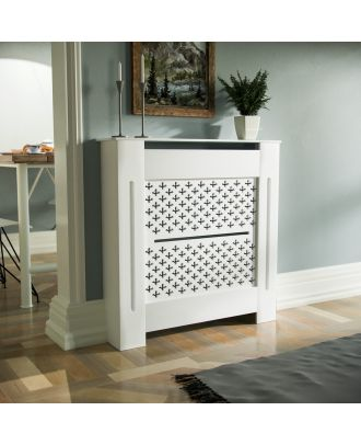 Cintra 780mm Small MDF Wood Radiator Cover Cross Pattern Grill Matte White