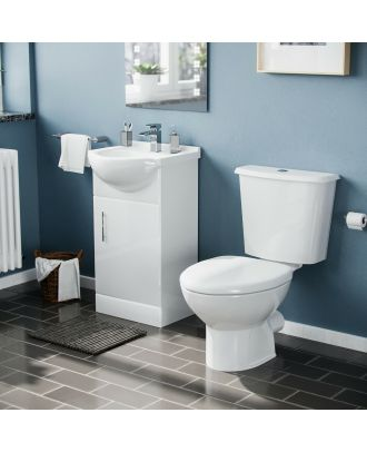 Marovo White 450 Cloakroom Basin Sink Vanity Cabinet Unit with WC Toilet Set