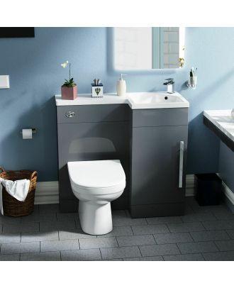 Velanal RH 900mm Vanity Basin Unit & Desone Back to Wall Toilet Grey