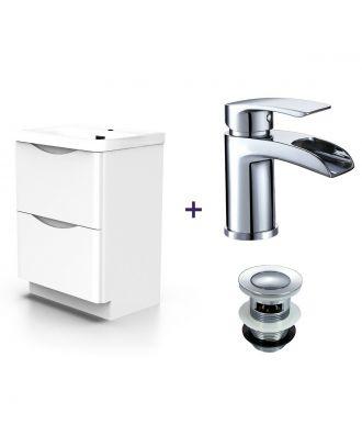 Merton White Basin Vanity Unit Tap with Waste Set