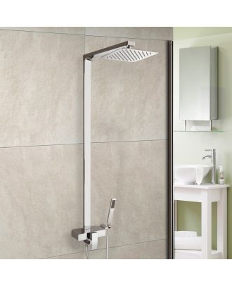 Ceron Square Exposed Shower - Cool Touch Thermostatic Valve, Slim Shower Head & Handset