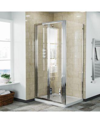 Fazel 900 x 760mm Frameless Bi-Fold Shower Door Enclosure