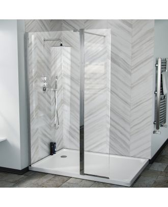 Lincoln 800 Walk In Wet Room Shower Enclosure Screen and Flipper Return Panel
