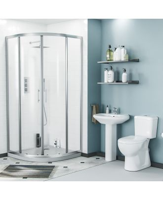 Porto 900mm Quadrant Shower Enclosure, Pedestal Basin & Eco Close Coupled Toilet White