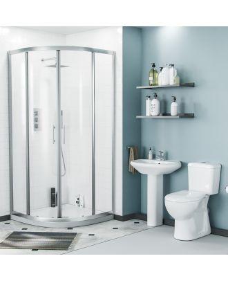 Porto 800mm Quadrant Shower Enclosure, Tray, Pedetsal Basin & Eco Close Coupled Toilet White