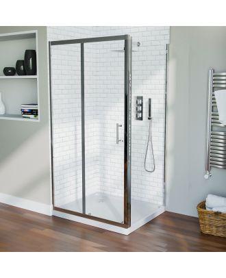 Jupiter Frameless 1000 x 760mm Shower Sliding Door Enclosure, Tray & Waste