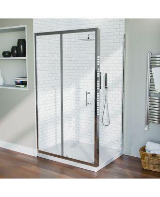 Jupiter Frameless 1100 x 700mm Shower Sliding Door Enclosure, Tray & Waste