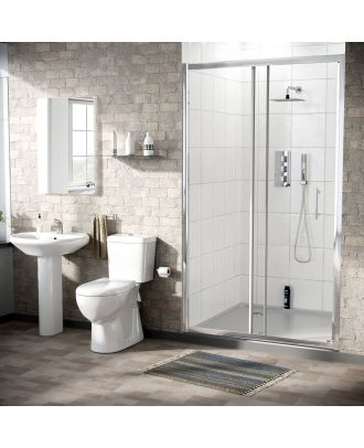 Marovo 1000mm Slider Door, Pedestal Basin & Eco Close Coupled Toilet White