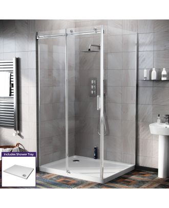 Obadiah 1100 x 800mm Frameless Sliding Shower Door Enclosure, Tray & Waste