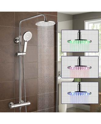 Siren Round Exposed Thermostatic Shower Mixer Valve - LED Shower Head, Riser Rail Kit