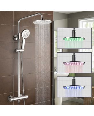 Siren Led Round Twin Head Thermostatic Shower Mixer Valve Wras Approved