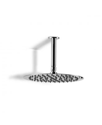 Dunn 250mm Thin Round Brass Swivel Shower Head Round with 360mm Ceiling Arm Chrome