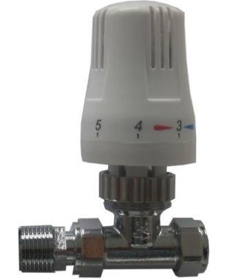 White Straight Traditional Thermostatic  Radiator Valve 15mm