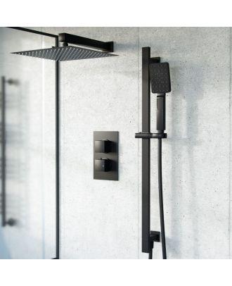 Mel  2 Dial 2 Way Thermostatic Mixer Valve, 200mm Shower Head, Handset Slider Rail Set Matte Black