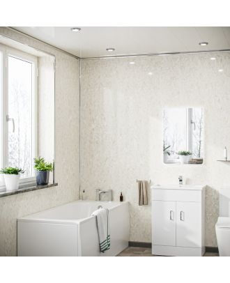 Selion Travertine Stone PVC Cladding Shower Wall Panel 1000x2400x10mm Packs