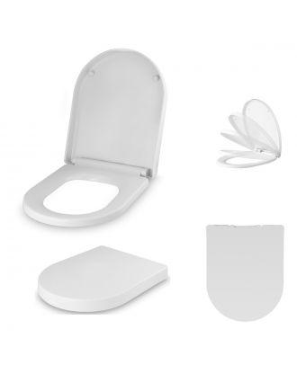 Universal Classic D-Shaped Design White Soft-Close Toilet Seat