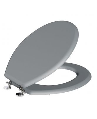 Girvana Oval Shaped Light Grey WC Toilet Seat and Top Fixings