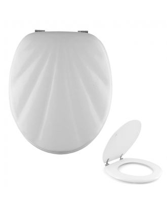 Universal Classic Oval Shell Shaped Design Toilet Seat & Fixings White