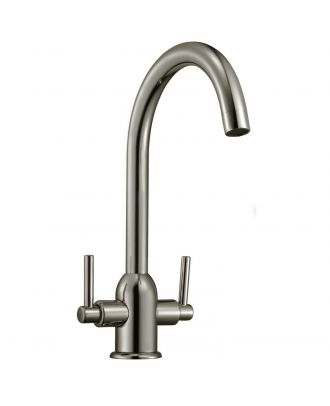 Twin Lever Brushed Nickel Kitchen Tap Mono Mixer Swivel Spout