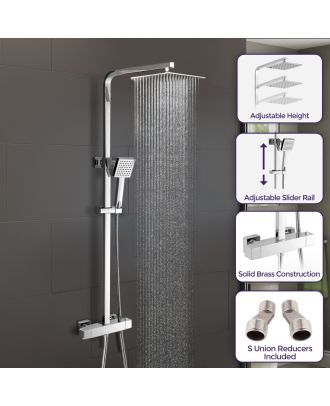 Thermostatic Shower Mixer With Riser Rail Kit And Ultra Thin Shower Head