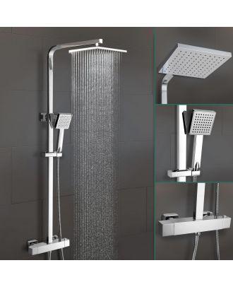 Opal Square Exposed Thermostatic Shower Mixer Set - Riser Rail Kit