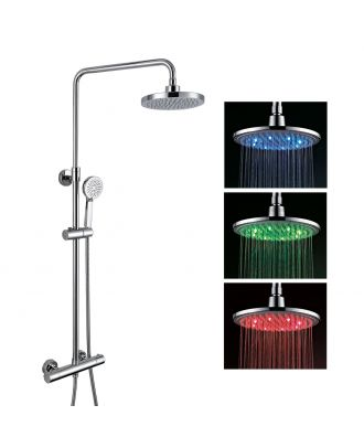Volvic Round LED Exposed Thermostatic Shower Mixer Set - Riser Rail Kit