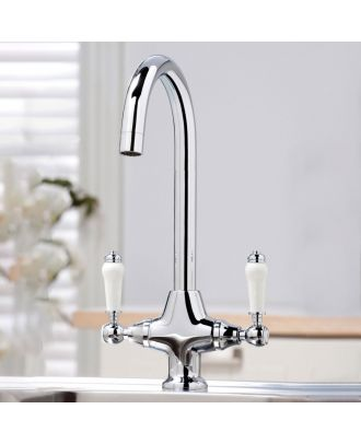 Traditional Twin Lever Kitchen Mixer Tap Chrome