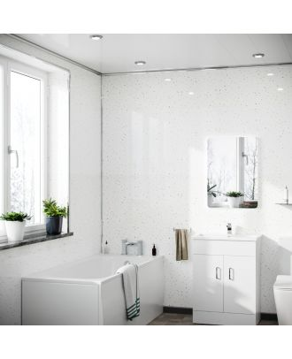 Quilton White Galaxy PVC Cladding Shower Wall Panel 1000x2400x10mm (Pack Of 1)
