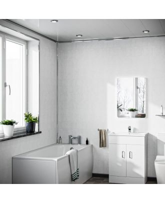 2400x1000x10mm Bathroom PVC Cladding Panel White Tile