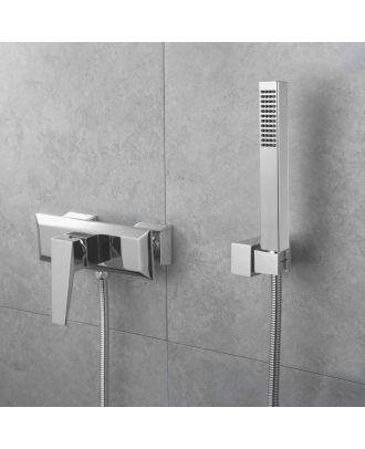 Siren Square Exposed Shower Mixer & Handset Chrome