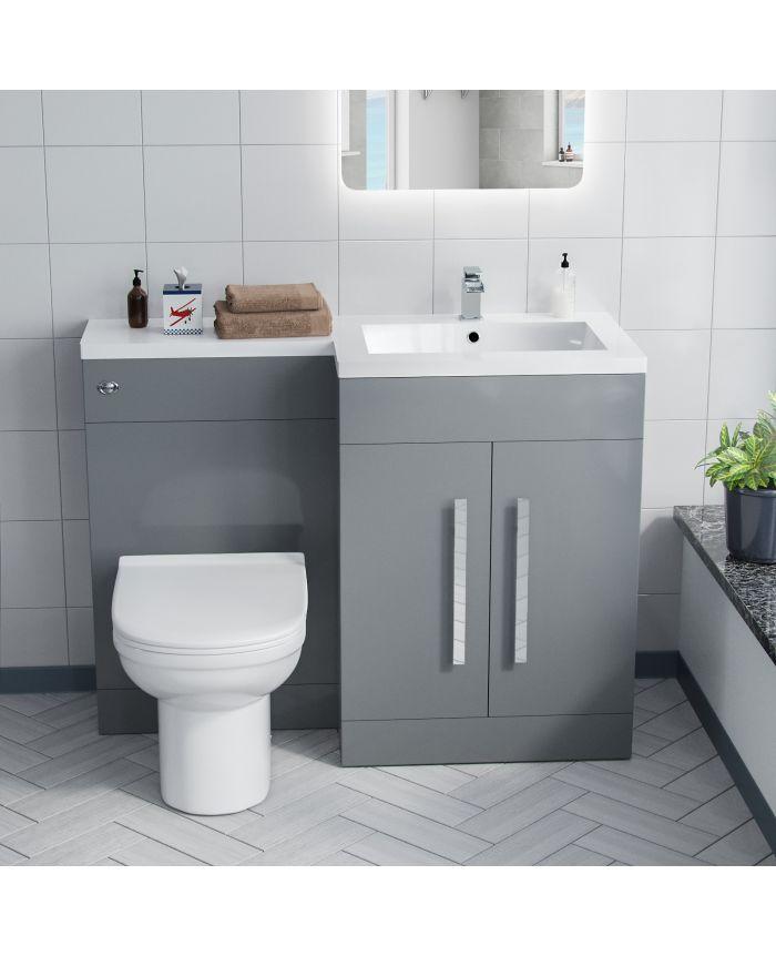 Aron 1100mm Rh Bathroom Basin Combination Vanity Unit Desone Back To Wall Toilet