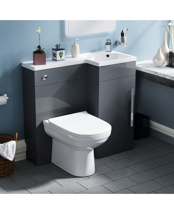 Dark Grey Rh Vanity Unit With Toilet, Dark Grey Bathroom Vanity Unit