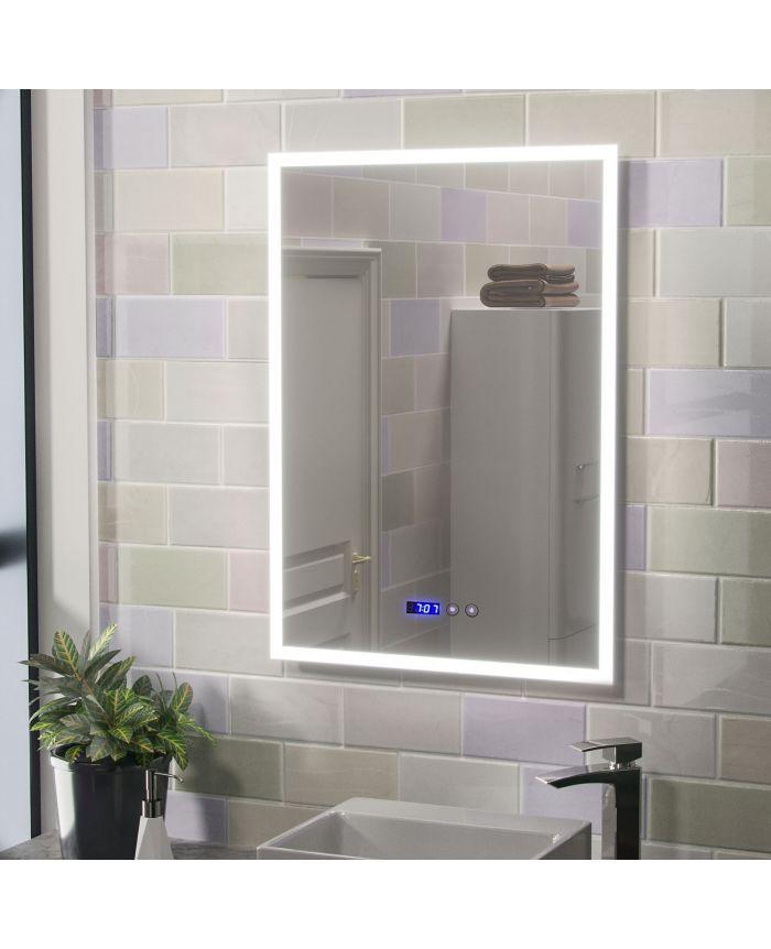 Jodie Large Illuminated Led Bathroom Mirror With Digital Clock And Anti Fog Willesden Bathrooms