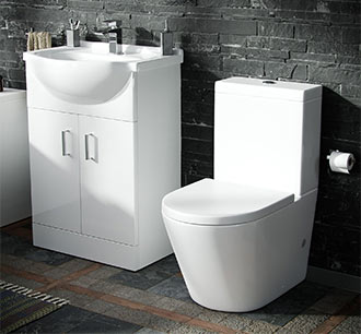 VIew Vanity and Close Coupled Toilet